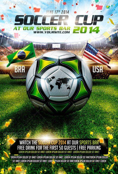 Top 25 Best Euro Soccer PSD Flyer Templates 2014 Brasil Fussball Flyer