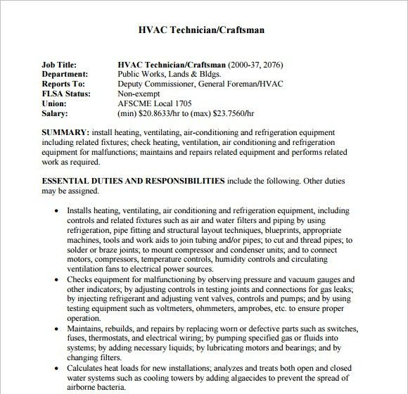 resume templates hvac and refrigeration resume. hvac resume ...