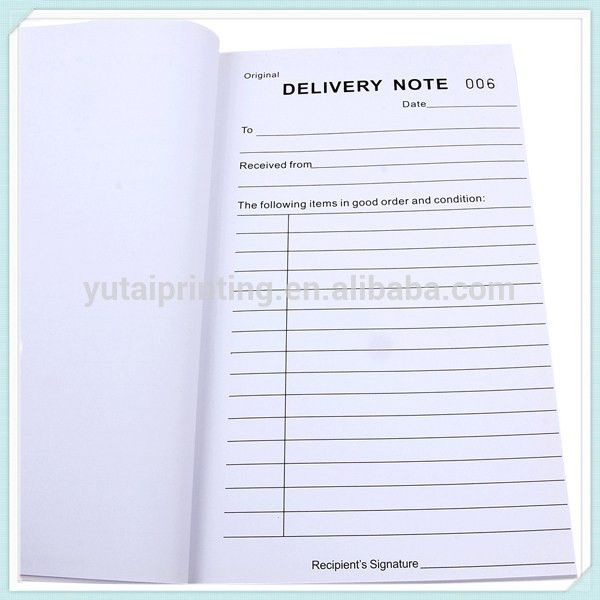 Delivery Invoice Hot Selling Australian Book Delivery Note Form ...
