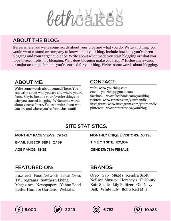 Free Downloadable Blogger Media Kit Template