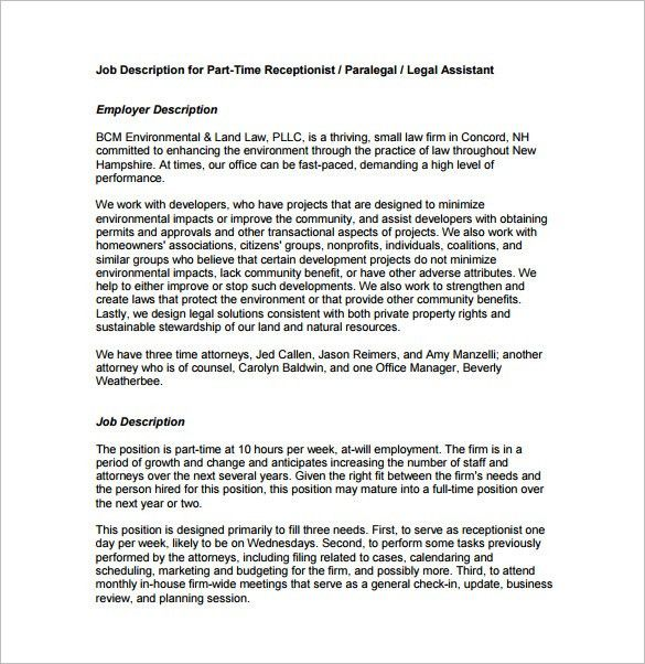 10+ Receptionist Job Description Templates – Free Sample, Example ...