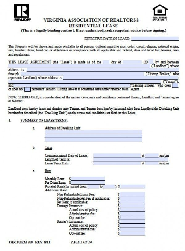 Free Virginia Residential Lease Agreement | PDF | Word (.doc)