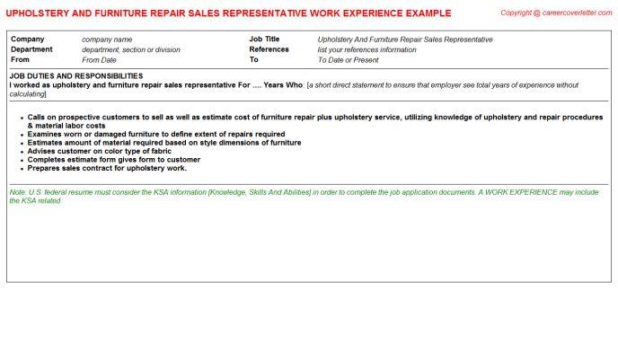 Upholstery And Furniture Repair Sales Representative CV Work ...