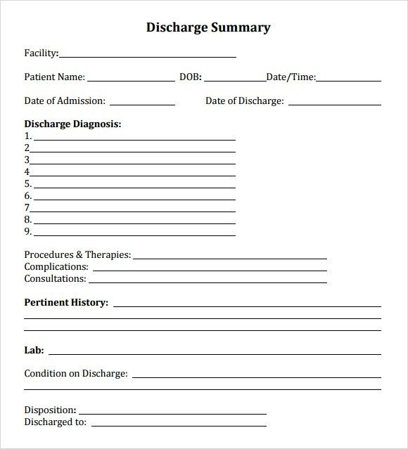 Hospital Discharge Form Word Template - Microsoft Excel Template ...