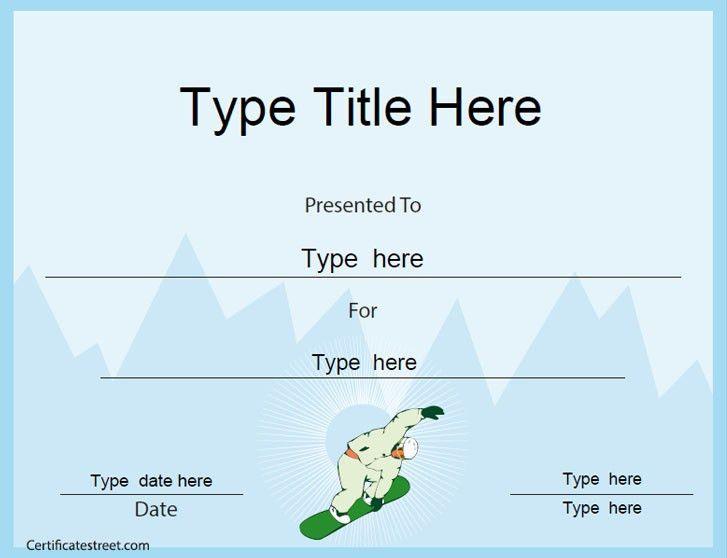 Sports Certificate - Snowboard Certificate Template ...