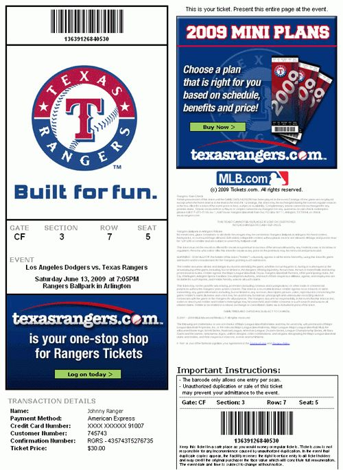 Print at Home Tickets | MLB.com