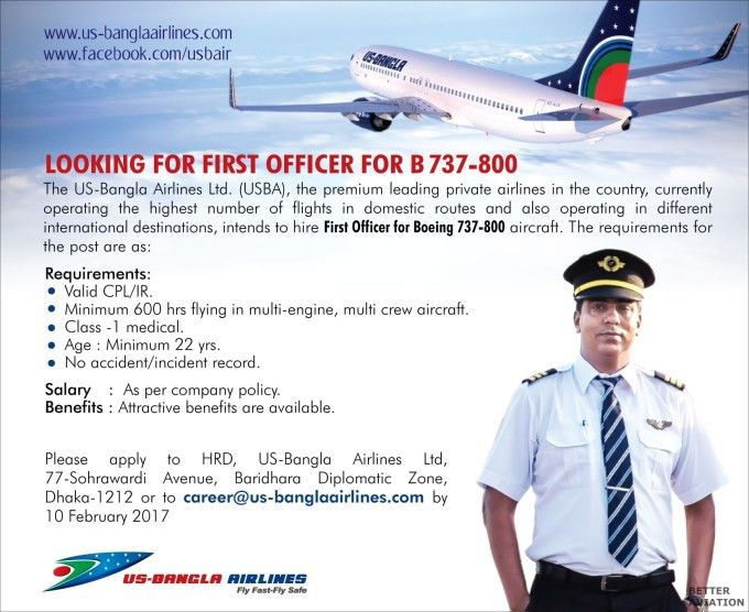 US-Bangla Airlines B737-800 Non Type Rated First Officers - Better ...