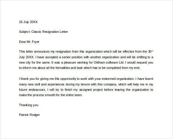 astounding formal resignation letter doc with Resignation letter ...