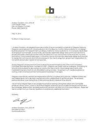 Letter of Recommendation - Intern Architect by Gregoire Dubourq ...