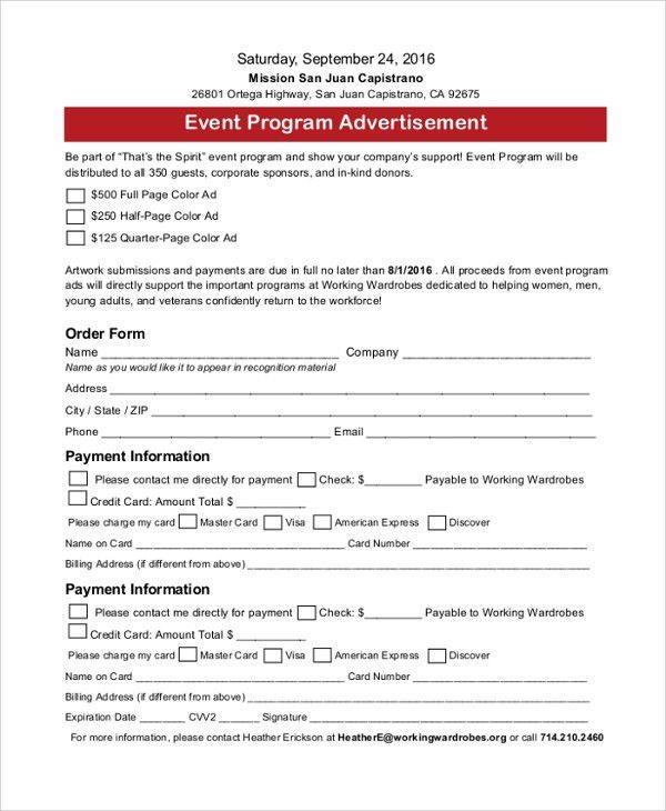 sample event programs