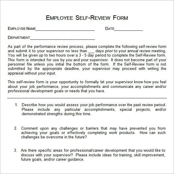 Sample Employee Self Evaluation Form – 14+ Free Documents In Word ...