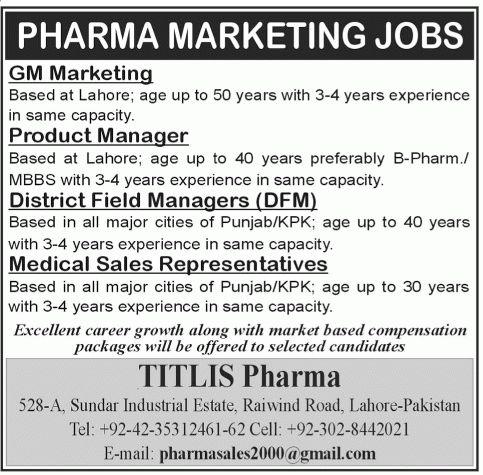 Pharma Marketing Lahore Jobs.GM Marketing. Product Manager ...