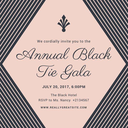 Blush and Charcoal Lines Black Tie Invitation - Templates by Canva