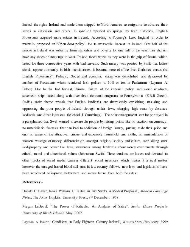 Modest proposal essay