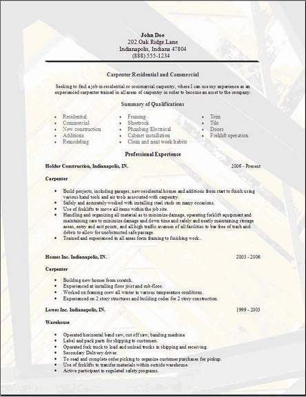 Carpenter Resume,examples,samples Free edit with word