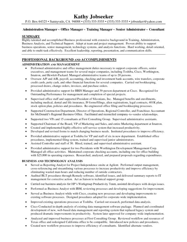 Business Professional Office Manager Resume Sample with Summary of ...