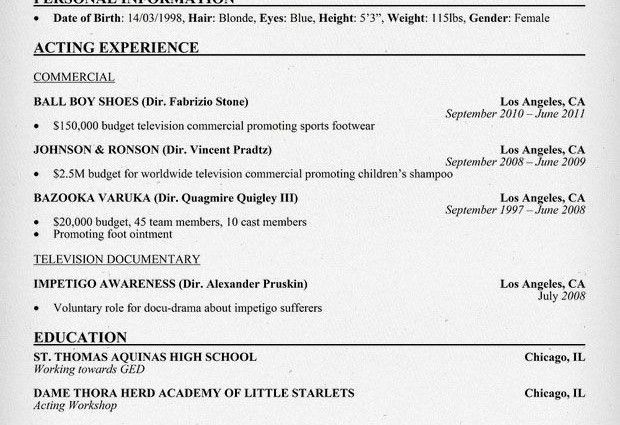 acting resume examples child actor sample resume child actor ...