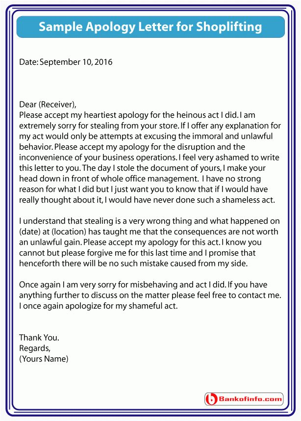 Sample Apology Letter for Shoplifting