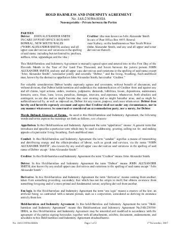 Sample Indemnity Agreement - Template Examples