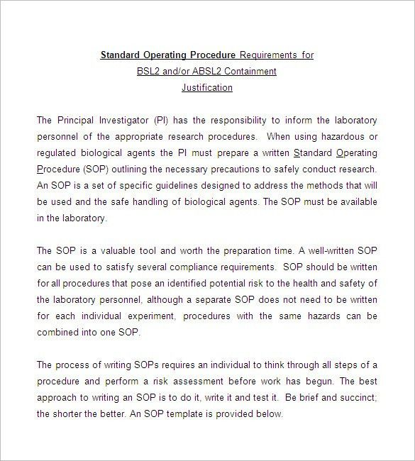 SOP Template, Standard Operating Procedure Template | Free ...