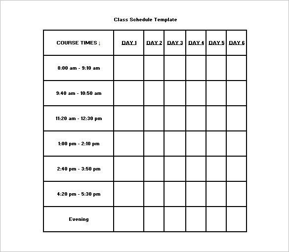 Class Schedule Template – 8+ Free Sample, Example Format Download ...
