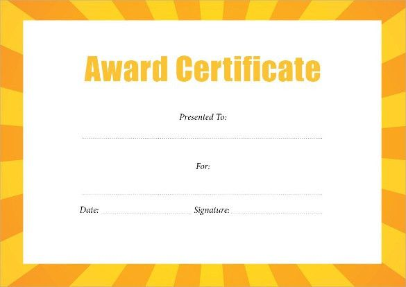 21+ Free Award Certificate Template - Word Excel Formats