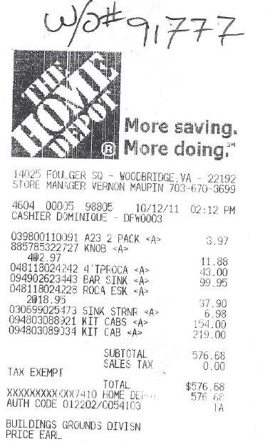 Home Depot Receipt Template | Template Design