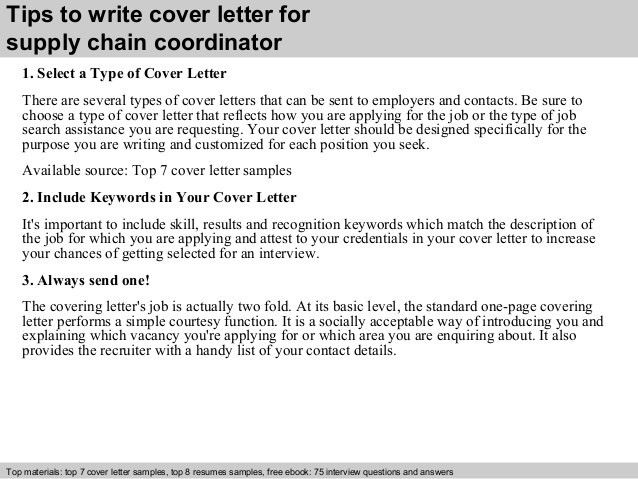 Supply chain coordinator cover letter