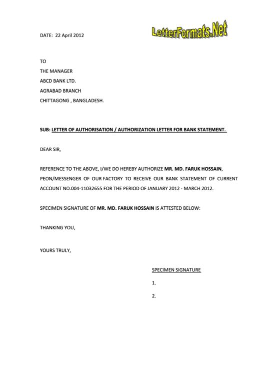 Letter Of Authorisation - Authorization Letter For Bank Statement ...