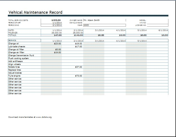vehicle maintenance log book template
