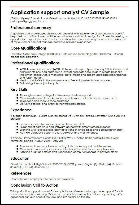 Application support analyst CV Sample | MyperfectCV