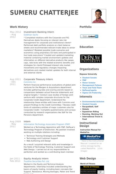 Investment Banking Resume samples - VisualCV resume samples database