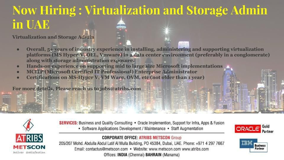 Virtualization and Storage Admin « ATRIBS - Career Page