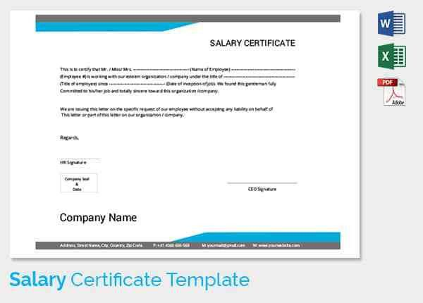 Salary Certificate Template   28+ Free Word, Excel, PDF, PSD .  Pay Certificate Sample