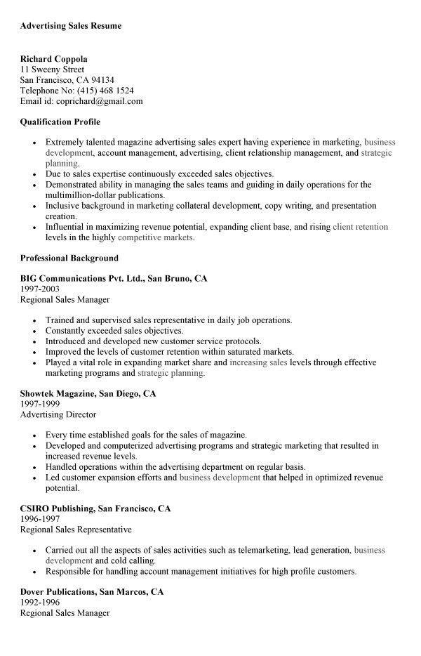 Ad Sales Resume / Sales / Sales - Lewesmr