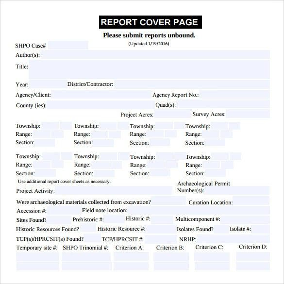 Sample Report Cover Page - 11+ Documents in PDF
