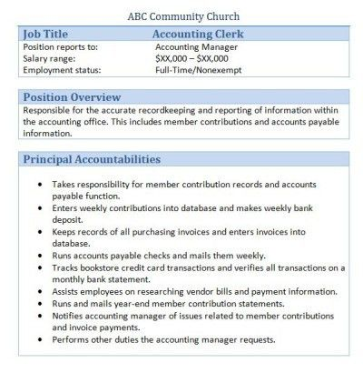 Accounting Clerk Job Description for Resume - SampleBusinessResume ...