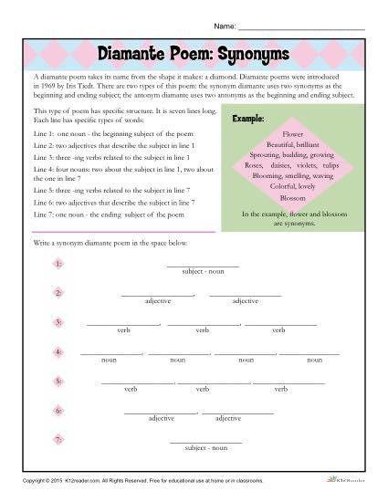 Diamante Poem: Synonyms   Poetry Worksheet