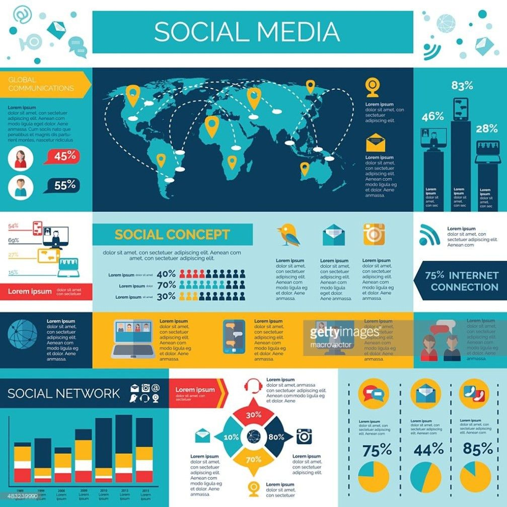 Social Media And Networks Infographic Set Vector Art | Thinkstock
