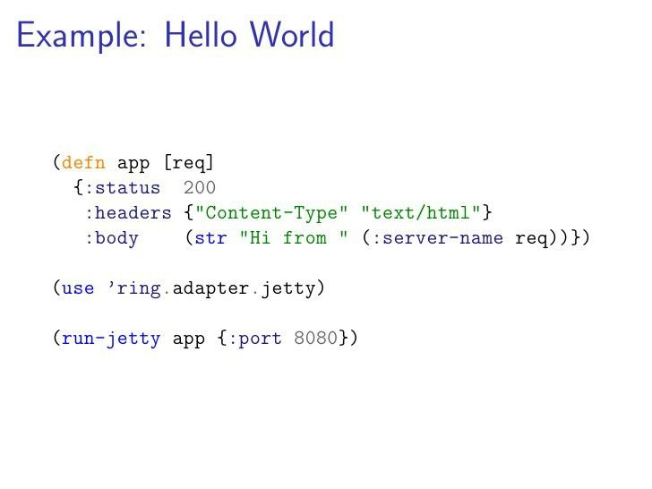 Ring: Web Apps in Idiomatic Clojure