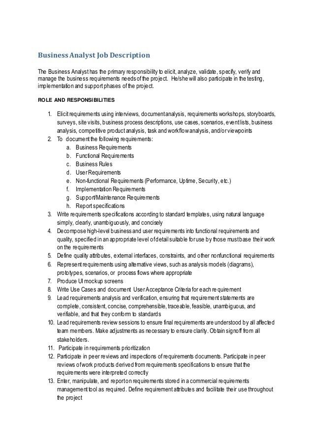 Business Analyst Job Description CLD_June2013