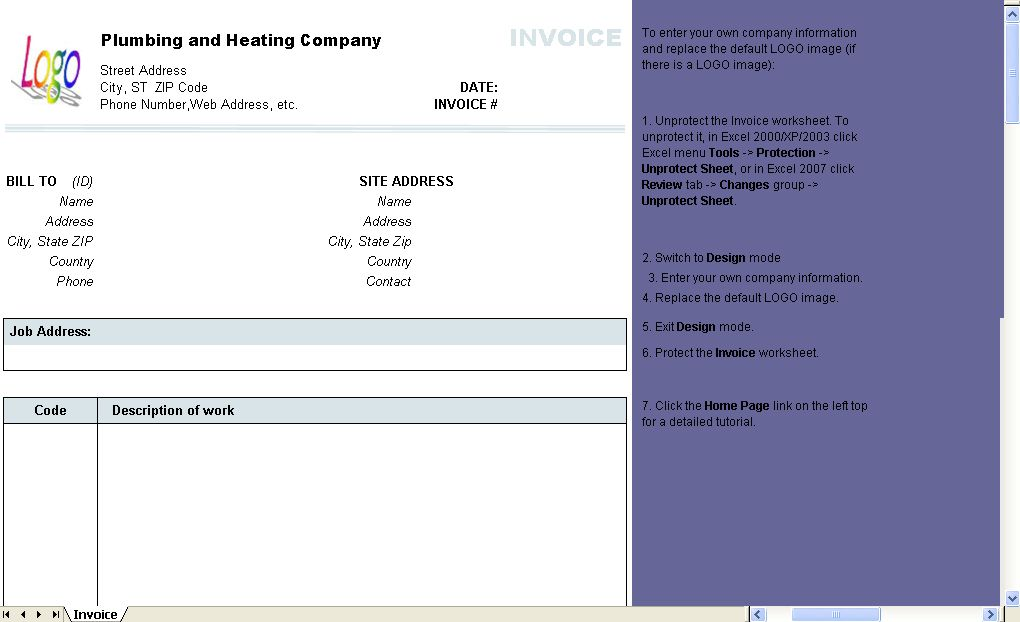 Plumbing and Heating Invoice Form - Uniform Invoice Software