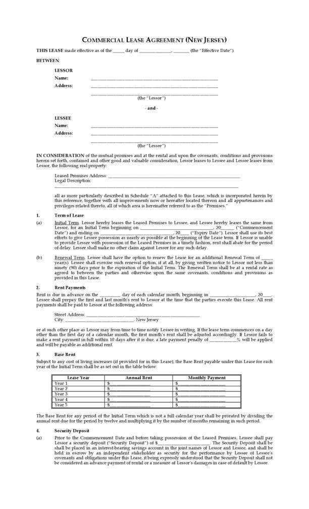 New Jersey Commercial Lease Agreement | LegalForms.org