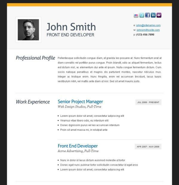 awesome online resume cv. how to write a resume in html format ...