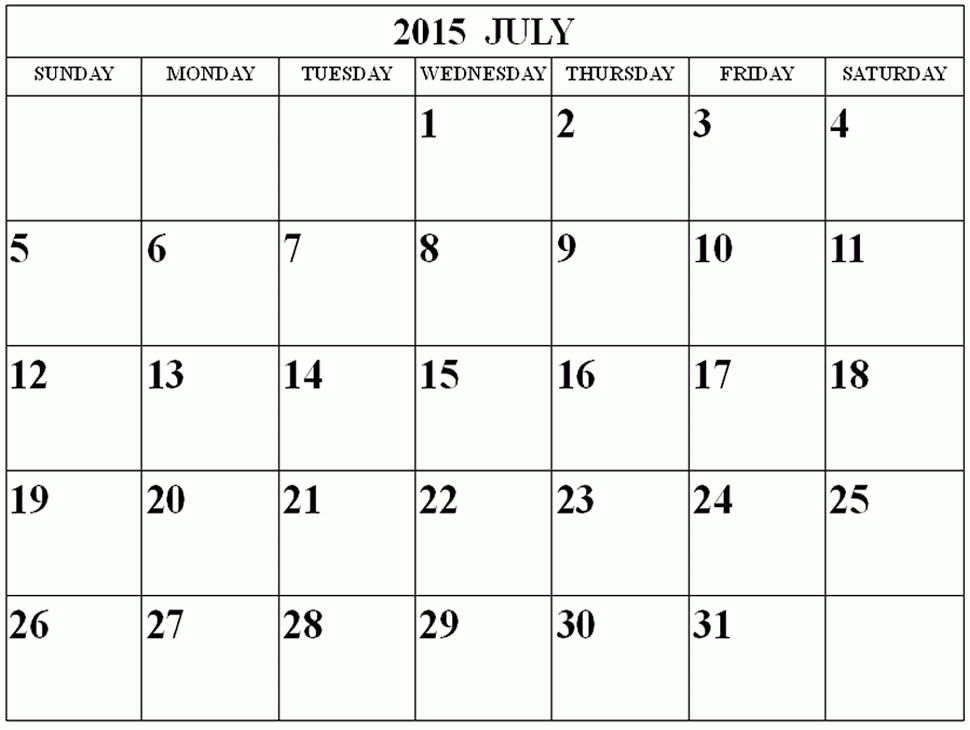 July 2015 Calendar - Get an exclusive collection of July 2015 ...