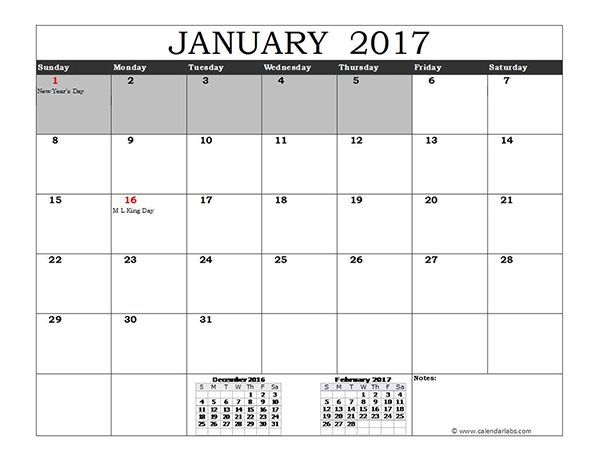2017 Excel Calendar with US Holidays - Free Printable Templates