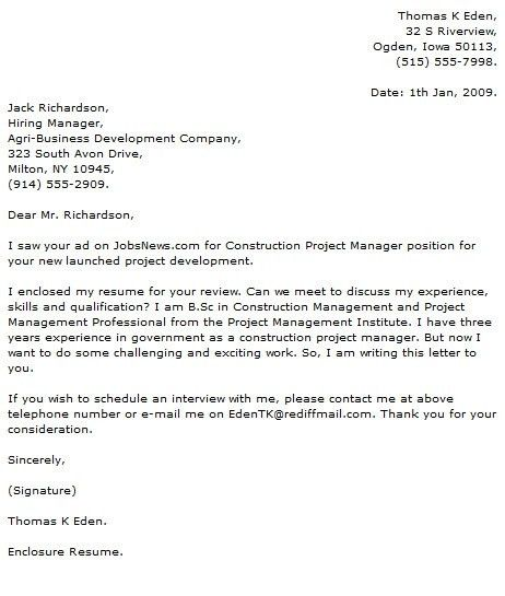create my cover letter. construction program manager cover letter ...