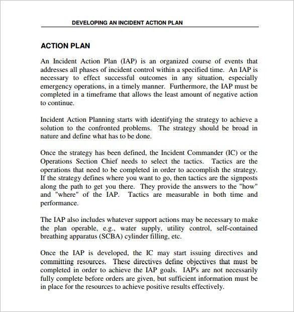 Incident Action Plan Template U2013 7+ Free Sample, Example, Format .