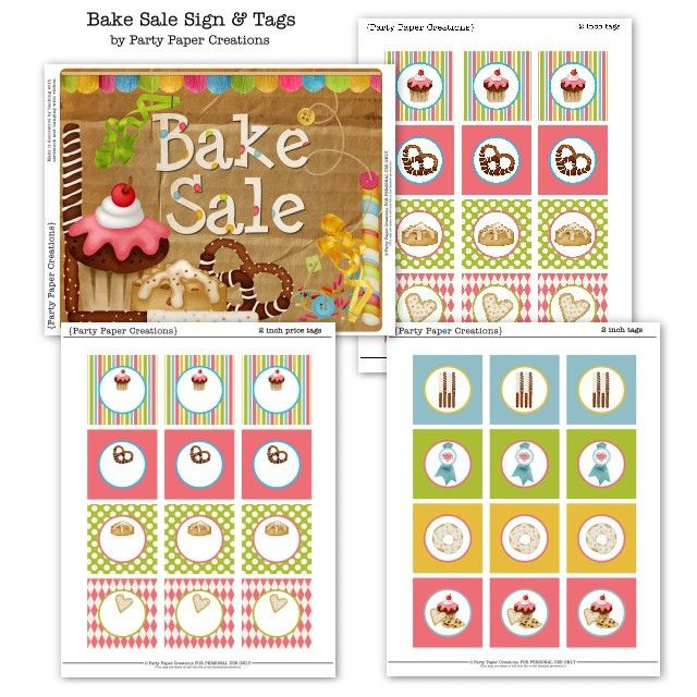 Printable Bake Sale Sign and Tags Freebie | Digi Freebies ...
