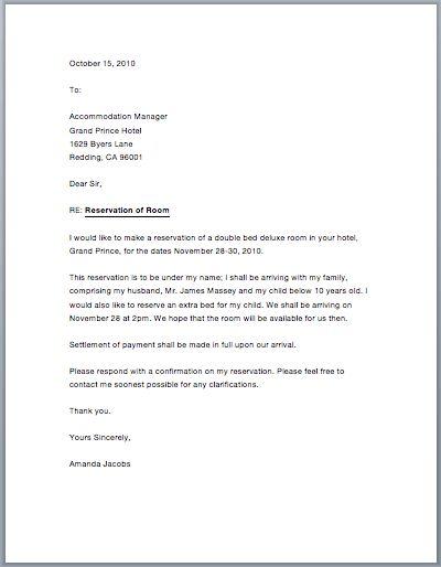 Sample Hotel Reservation Letter – Free Sample Letters